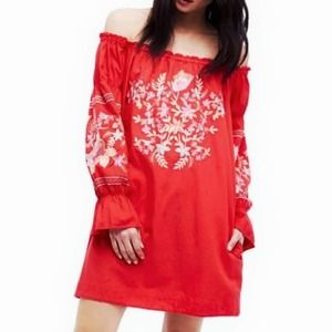 Free People Fleur De Jour Red Embroidered Dress XS